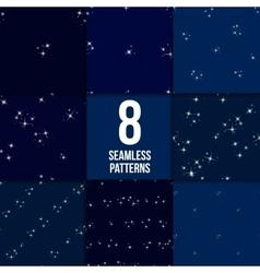 Starry sky seamless pattern set vector