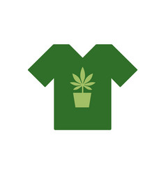 T-shirt with marijuana or cannabis plant in a vector