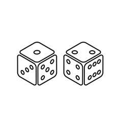 Two dice to gamble or gambling in craps flat icon vector