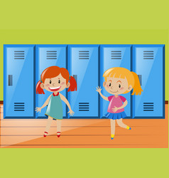 Two girls in front of lockers vector