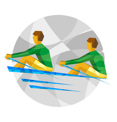 Two sportsman in boat on gray background vector