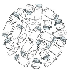 Use less plastic glass jars ball motivational vector