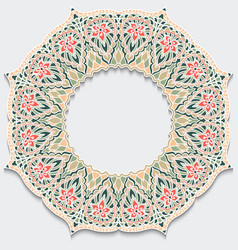 Vintage flower frame mandala with shadow delicate vector
