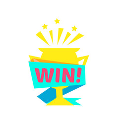 win congratulations sticker with golden cup design vector image