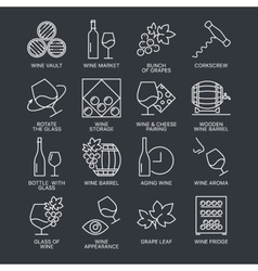 wine icons set isolated on dark background vector image