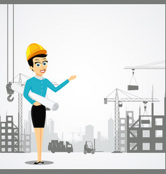 woman engineer with the architectural project vector image