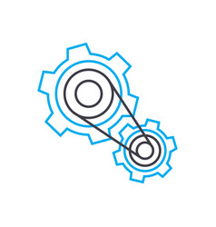 working mechanism system linear icon concept vector image
