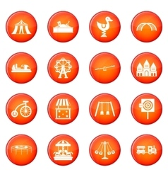 Amusement park icons set vector image