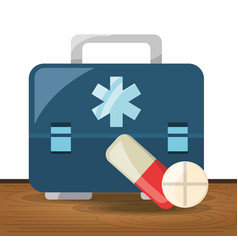 Briefcase with pill and drug treatment vector