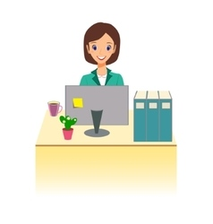 Business woman working in office character design vector