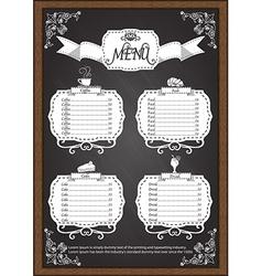 Coffee menu on chalkboard design elements vector image