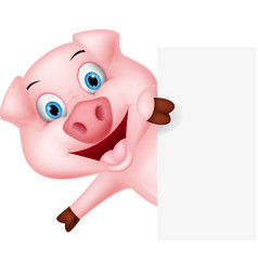 happy pig cartoon with sign vector image vector image