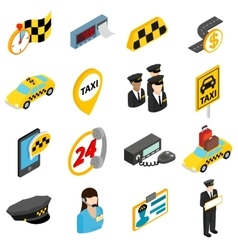 Taxi icons set isometric 3d style vector image
