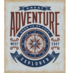 Vintage Great Adventure Typography vector image vector image
