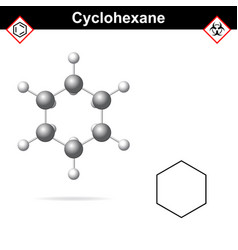Cyclohexane chemical formula and molecular vector