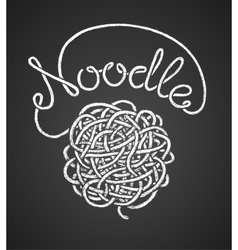 Noodle word and spaghetti snarl drawn on vector