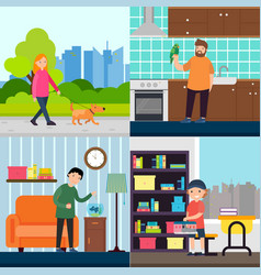 people and pets concept vector image