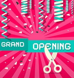 Retro Grand Opening with Confetti and Scisso vector image