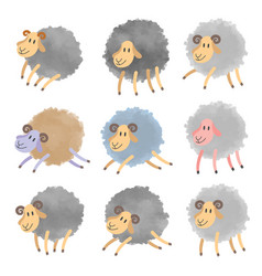 set of cartoon lambs vector image vector image