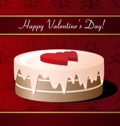 Valentines Day greeting card with cake vector image vector image