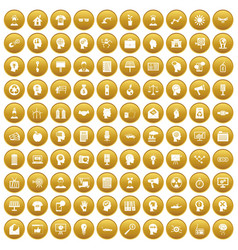 100 idea icons set gold vector