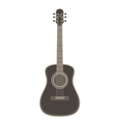 acoustic guitar flat icon isolated black music vector image