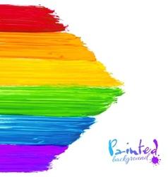 Bright rainbow paint strokes arrow background vector image vector image