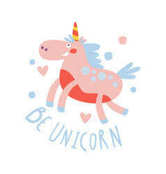 cute cartoon flying unicorn be unicorn colorful vector image vector image