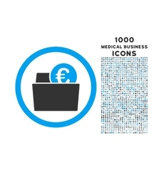 Euro Wallet Rounded Icon with 1000 Bonus Icons vector image