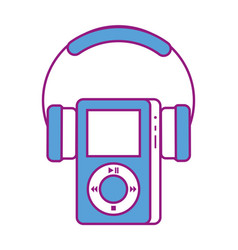 multimedia mp player and headphones display button vector image