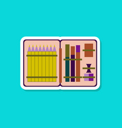 paper sticker on stylish background pencil box vector image vector image