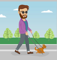 blind man walking street with help of guide dog vector image
