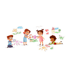 children drawing pencil picture vector image