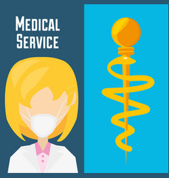 doctor with mask and medicine symbol vector image vector image