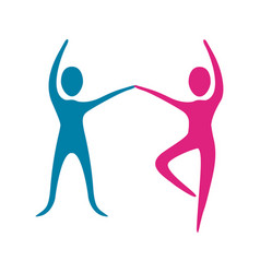 people fitness dancing icon vector image vector image
