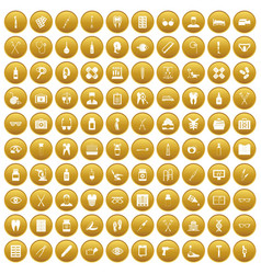 100 medical accessories icons set gold vector