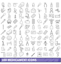 100 medicament icons set outline style vector