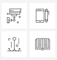 4 universal line icon pixel perfect symbols vector