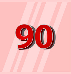 90 years anniversary red elegant number template vector