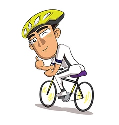 a man riding a bicycle on a white background vector image