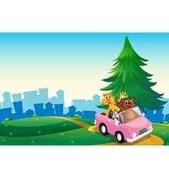 A pink car with animals running at the hilltop vector