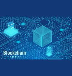 abstract neon color blockchain isometric concept vector image