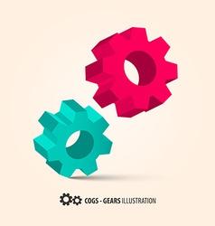 Abstract Retro 3D Cogs - Gears vector