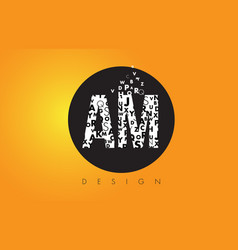 Am a m logo made of small letters with black vector