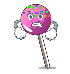 Angry lollipop with sprinkles mascot cartoon vector