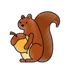 autumn season squirrel holdign acorn forest vector image