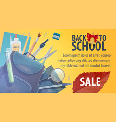 Back to school store sale promo poster vector
