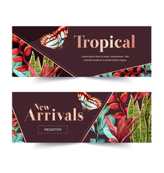 Banner design with classic tropical plants vector