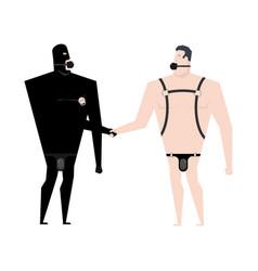 Bdsm love slaves handshake friendship bandage and vector