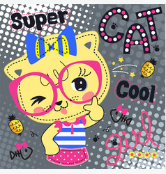 Beautiful cat girl wearing bow headband vector